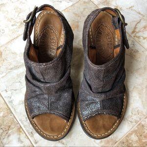 Fiorentini + Baker metallic brown chunky heels
